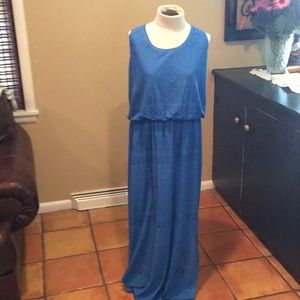 London Style Collection Blue Lace Maxi dress
